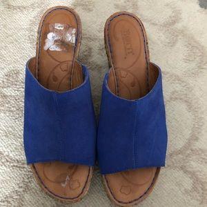 Born Leather Slide Sandals.